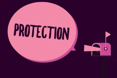 Writing note showing Protection. Business photo showcasing State of being protected kept from harm loss danger Give vector illustration