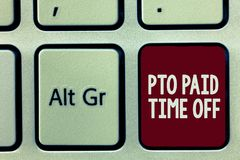 Writing note showing Pto Paid Time Off. Business photo showcasing Employer grants compensation for personal leave. Holidays royalty free stock image