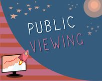 Writing note showing Public Viewing. Business photo showcasing Able to be seen or known by everyone Open to general view vector illustration