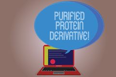 Writing note showing Purified Protein Derivative. Business photo showcasing the extract of Mycobacterium tuberculosis Certificate. Layout on Laptop Screen and royalty free illustration