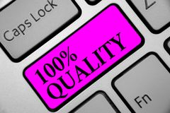 Writing note showing 100 Quality. Business photo showcasing Guaranteed pure and no harmful chemicals Top Excellence Keyboard purpl. E key Intention computer royalty free illustration