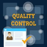 Writing note showing Quality Control. Business photo showcasing insure that product or service sold due to standards. Writing note showing Quality Control royalty free illustration