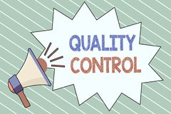 Writing note showing Quality Control. Business photo showcasing insure that product or service sold due to standards.  vector illustration