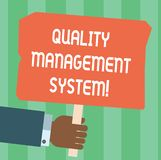 Writing note showing Quality Management System. Business photo showcasing formalized system that documents processes Hu analysis. Hand Holding Colored Placard vector illustration