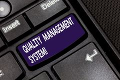 Writing note showing Quality Management System. Business photo showcasing formalized system that documents processes Keyboard key. Intention to create computer royalty free stock image