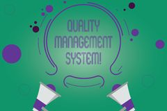 Writing note showing Quality Management System. Business photo showcasing formalized system that documents processes Two Megaphone. And Circular Outline with stock illustration