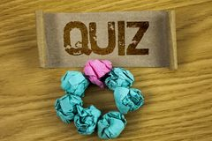Writing note showing  Quiz. Business photo showcasing Short Tests Evaluation Examination to quantify your knowledge written on Fol. Writing note showing  Quiz Royalty Free Stock Photography