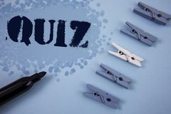 Writing note showing  Quiz. Business photo showcasing Short Tests Evaluation Examination to quantify your knowledge written on Pai. Writing note showing  Quiz Royalty Free Stock Photography