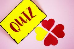 Writing note showing  Quiz. Business photo showcasing Short Tests Evaluation Examination to quantify your knowledge written on Sti. Writing note showing  Quiz Royalty Free Stock Photos