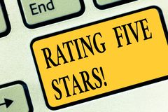 Writing note showing Rating Five Stars. Business photo showcasing indicating highest classification based given set. Criteria Keyboard key Intention to create vector illustration