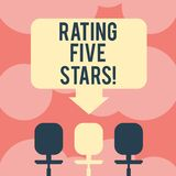 Writing note showing Rating Five Stars. Business photo showcasing indicating highest classification based given set criteria Space vector illustration