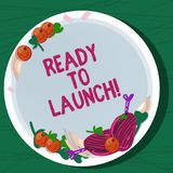 Writing note showing Ready To Launch. Business photo showcasing Prepared to start promote new product software. Application Hand Drawn Lamb Chops Herb Spice royalty free illustration