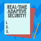 Writing note showing Real Time Adaptive Security. Business photo showcasing accommodate the emergence of multiple stock illustration