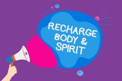 Writing note showing Recharge BodyandSpirit. Business photo showcasing fill your energy through relaxation and having fun Convey m. Essages ideas sound speaker Stock Image