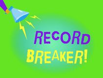 Writing note showing Record Breaker. Business photo showcasing someone or something that beats previous best result.  vector illustration