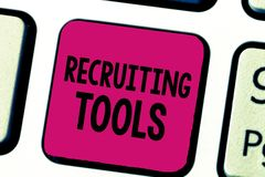 Writing note showing Recruiting Tools. Business photo showcasing getting new talents to your company through internet or. Ads stock image