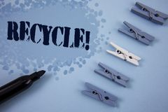 Writing note showing  Recycle Motivational Call. Business photo showcasing Convderting waste into reusable material written on Pai. Writing note showing  Recycle Stock Images