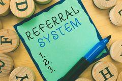 Writing note showing Referral System. Business photo showcasing sending own patient to another physician for treatment.  royalty free stock photo