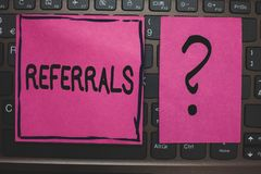 Writing note showing Referrals. Business photo showcasing Act of referring someone or something for consultation review Black lapt. Op keyboard pink paper ask Royalty Free Stock Photos