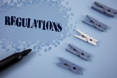 Writing note showing  Regulations. Business photo showcasing Rules Laws Corporate Standards Policies Security Statements written o. Writing note showing Royalty Free Stock Photo