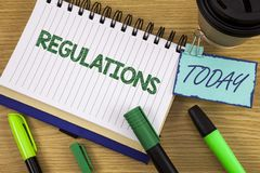 Writing note showing  Regulations. Business photo showcasing Rules Laws Corporate Standards Policies Security Statements written o. Writing note showing Royalty Free Stock Images