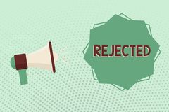 Writing note showing Rejected. Business photo showcasing dismiss as inadequate unacceptable or faulty refuse to agree.  vector illustration