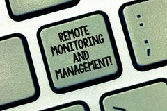 Writing note showing Remote Monitoring And Management. Business photo showcasing Long distance monitor data analysisager. Keyboard Intention to create computer stock image