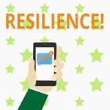 Writing note showing Resilience. Business photo showcasing Capacity to recover quickly from difficulties Persistence. Writing note showing Resilience. Business royalty free illustration