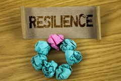 Writing note showing  Resilience. Business photo showcasing Capacity to recover quickly from difficulties Persistence written on F. Writing note showing Stock Photos