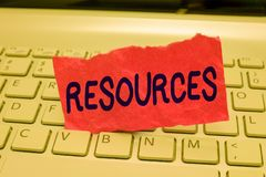 Writing note showing Resources. Business photo showcasing Money Materials Staff and other assets needed to run a company.  stock image