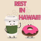 Writing note showing Rest In Hawaii. Business photo showcasing Have a relaxing time enjoying beautiful beaches and. Summer royalty free illustration
