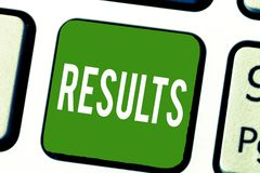 Writing note showing Results. Business photo showcasing Consequences outcomes produced by something Achievement. Development stock photo