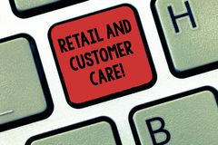 Writing note showing Retail And Customer Care. Business photo showcasing Shopping assistance store helping services. Keyboard Intention to create computer stock images