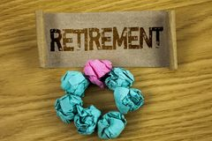 Writing note showing  Retirement. Business photo showcasing Leaving Job Stop Ceasing to Work after reaching some age written on Fo. Writing note showing Royalty Free Stock Photo