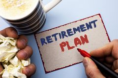 Writing note showing  Retirement Plan. Business photo showcasing Savings Investments that provide incomes for retired workers writ. Ten by Man Cardboard Piece Stock Images