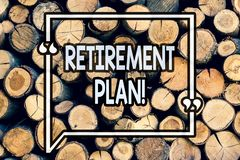 Writing note showing Retirement Plan. Business photo showcasing Savings Investments that provide incomes for retired workers. Wooden background vintage wood royalty free stock images