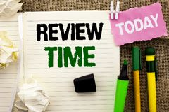Writing note showing  Review Time. Business photo showcasing Evaluating Survey Reviewing Analysis Checkup Inspection Revision writ. Ten Notebooke Book the jute Stock Photography