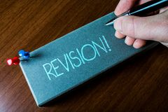 Writing note showing Revision. Business photo showcasing action of revising over someone like auditing or accounting stock image