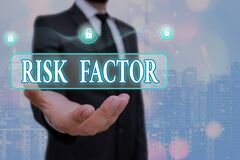 Writing note showing Risk Factor. Business photo showcasing Characteristic that may increase the percentage of acquiring
