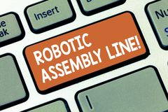 Writing note showing Robotic Assembly Line. Business photo showcasing use to increase production speed and consistency. Keyboard key Intention to create royalty free stock photos