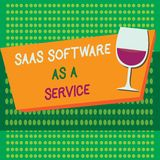 Writing note showing Saas Software As A Service. Business photo showcasing the use of cloud based App over the Internet.  royalty free illustration