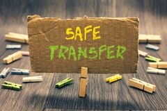 Writing note showing Safe Transfer. Business photo showcasing Wire Transfers electronically Not paper based Transaction Clothespin. Holding paperboard important stock photography