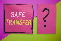 Writing note showing Safe Transfer. Business photo showcasing Wire Transfers electronically Not paper based Transaction.  stock photo