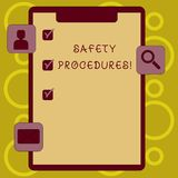 Writing note showing Safety Procedures. Business photo showcasing Follow rules and regulations for workplace security. Writing note showing Safety Procedures stock illustration