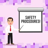 Writing note showing Safety Procedures. Business photo showcasing Follow rules and regulations for workplace security. Writing note showing Safety Procedures vector illustration
