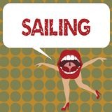 Writing note showing Sailing. Business photo showcasing Action of sail in ship or boat Sport Travel Nautical adventure vector illustration