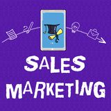 Writing note showing Sales Marketing. Business photo showcasing introducing product or service in order to get bought.  vector illustration