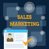 Writing note showing Sales Marketing. Business photo showcasing introducing product or service in order to get bought. Writing note showing Sales Marketing stock illustration