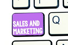Writing note showing Sales And Marketing. Business photo showcasing Promotion Selling Distribution of Goods or Services.  stock photography