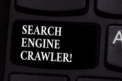 Writing note showing Search Engine Crawler. Business photo showcasing program or automated script that browses the web. Keyboard key Intention to create stock images